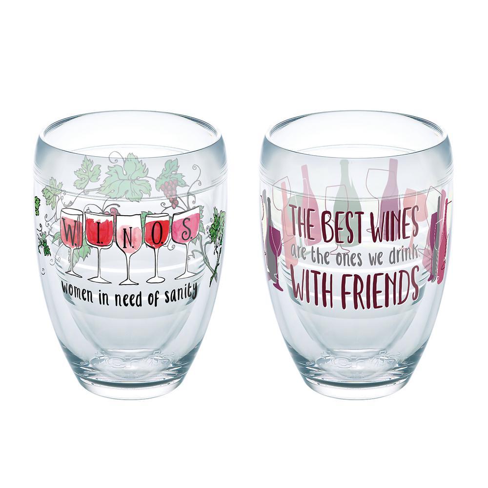 Winos Wine 9 oz. Stemless Wine Glass with Friends (Set of 2)