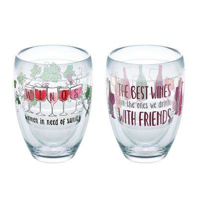 Winos Wine 9 oz. Stemless Wine Glass with Friends (Set of 2)