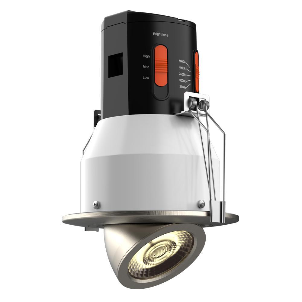 Premium Downlight 4in. Brushed Nickel Integrated LED Recessed Gimbal Kit