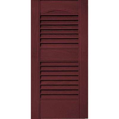 12 in. x 25 in. Louvered Vinyl Exterior Shutters Pair #078 Wineberry