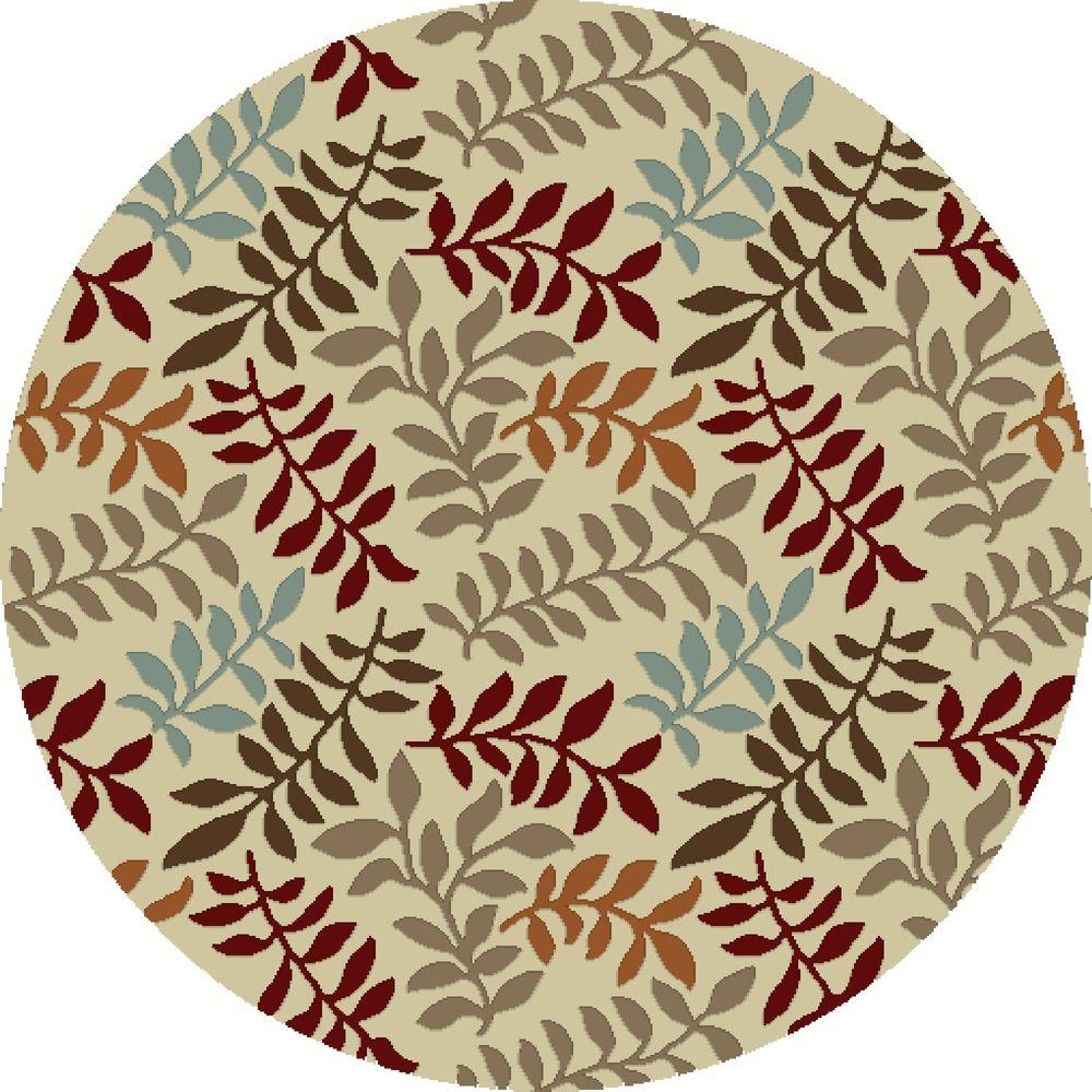 Chester Leafs Ivory 7 ft. 10 in. Round Area Rug