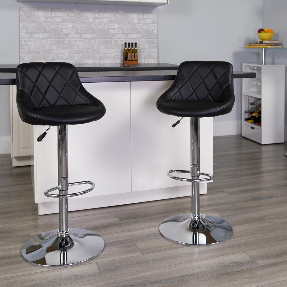 Flash Furniture 32 in. Adjustable Height Black Cushioned Bar Stool CH82028ABK