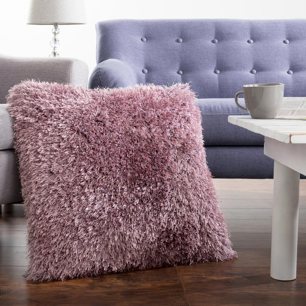 21 in. x 21 in. Purple Shag Floor Decorative Pillow