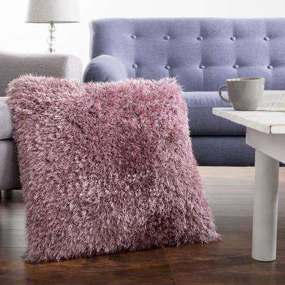 21 in. x 21 in. Purple Shag Floor Decorative Pillow