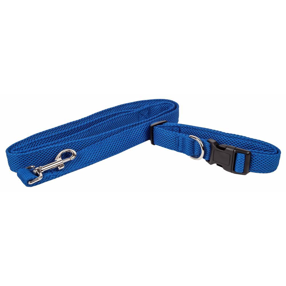 Aero Mesh Small 2-in-1 Breathable Adjustable Mesh Dog Leash-Collar in Blue