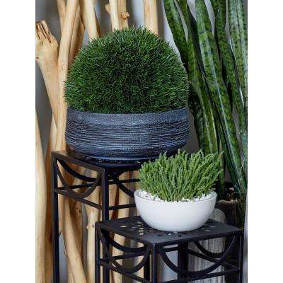 Black Fiber Clay Round Planters (Set of 3)