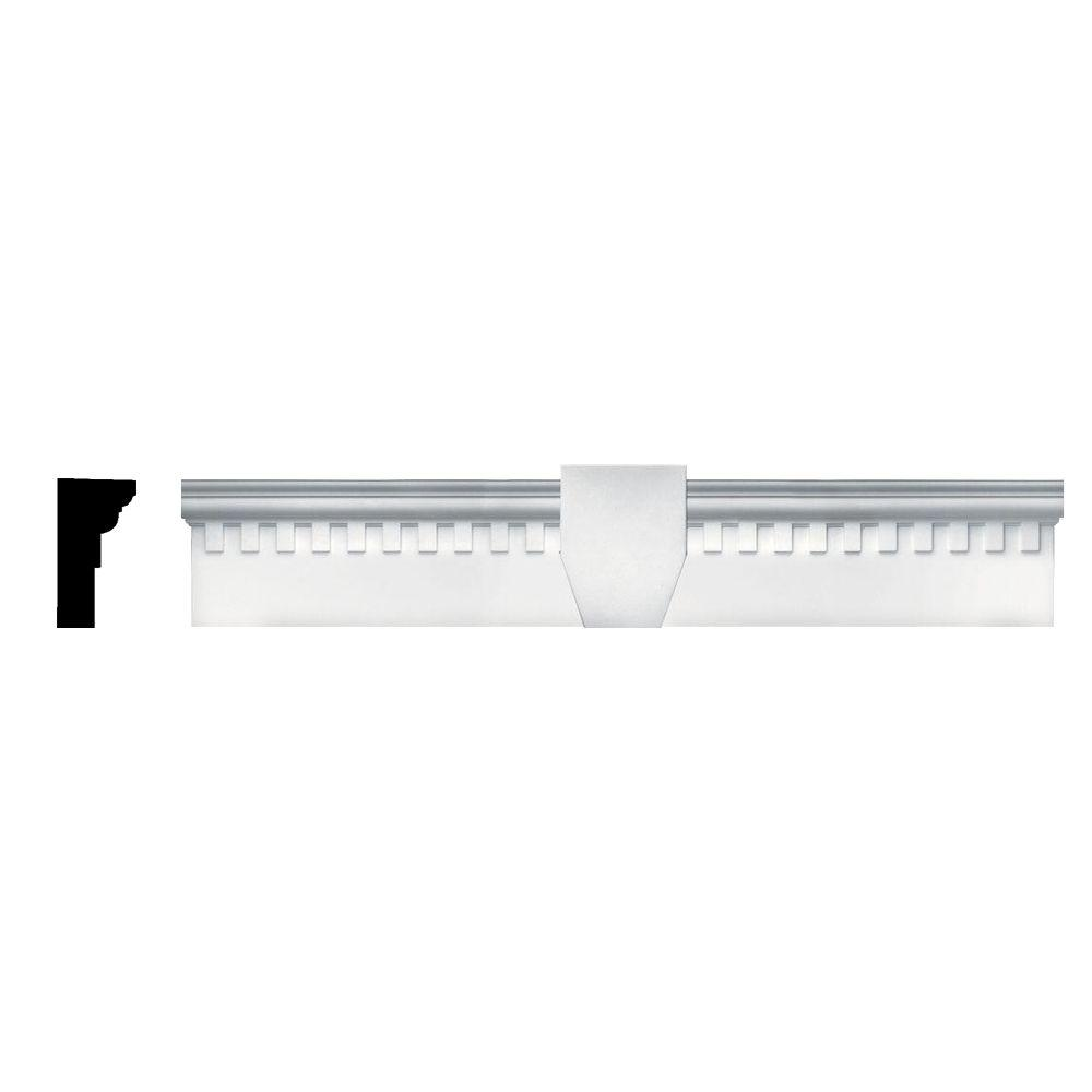 Builders Edge 6 in. x 33 5/8 in. Classic Dentil Window Header with Keystone in 001 White