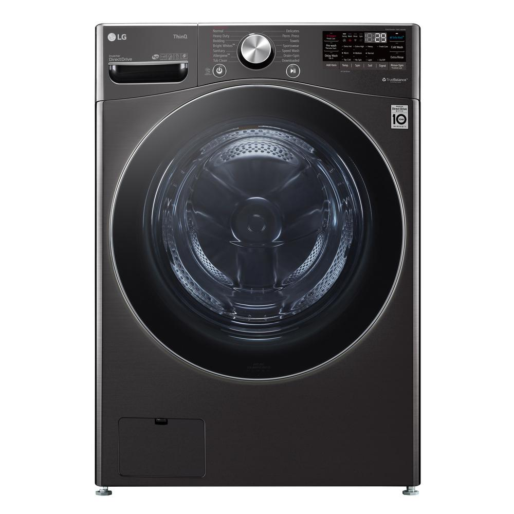 Lg Electronics 27 In 5 Cu Ft Ultra Large Capacity Black Steel Front Load Washer With Turbo Wash Steam And Wi Fi Connectivity Wm4200hba The Home Depot