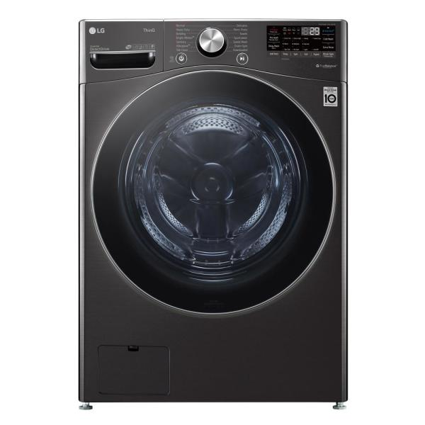 LG Electronics 27 in. 5 cu. ft. Ultra Large Capacity Black Steel Front Load Washer with Turbo Wash Steam and Wi-Fi Connectivity