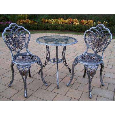Butterfly 3 Piece Patio Bistro Set In Antique Pewter