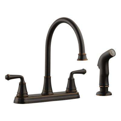 Eden 2-Handle Standard Kitchen Faucet with Side Sprayer in Oil Rubbed Bronze