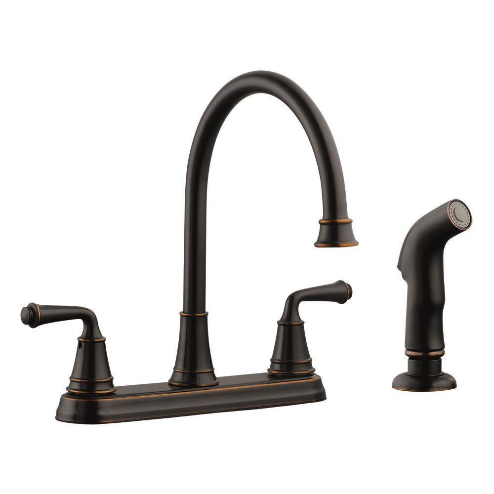Design House Eden 2-Handle Standard Kitchen Faucet with Side Sprayer in Oil Rubbed Bronze