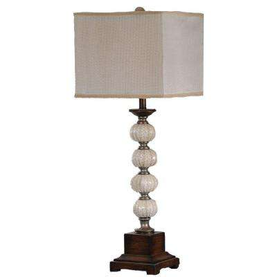 35 in. Silver and Worn Wood Natural Sea Urchin Table Lamp