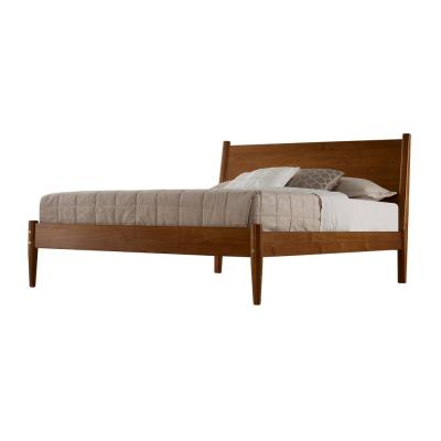 Mid-Century Castanho, Queen Size, Panel Headboard, Platform Bed