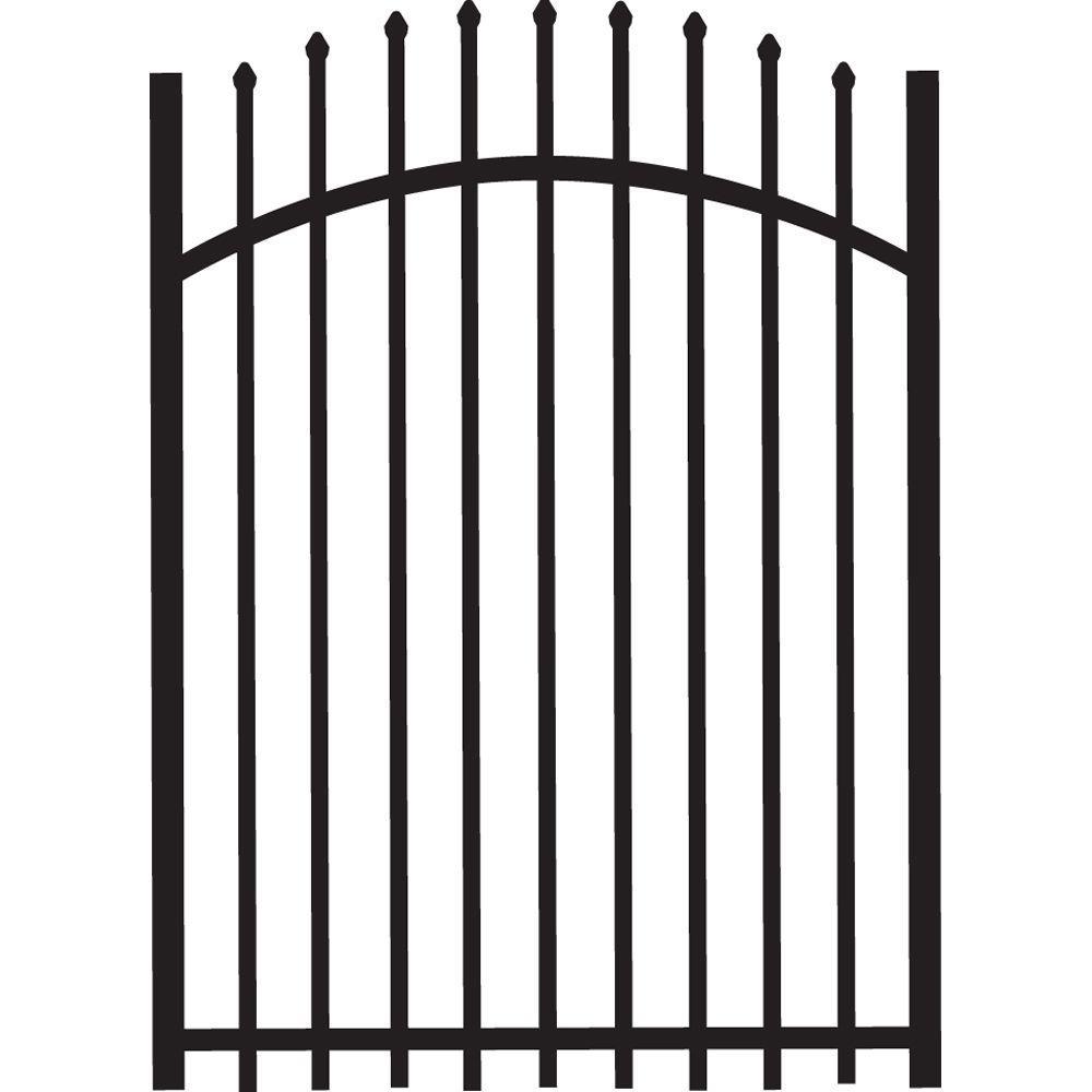 TuffBilt Cascade 4 ft. x 5 ft. Heavy-Duty Black Aluminum Arched Pre-Assembled Fence Gate