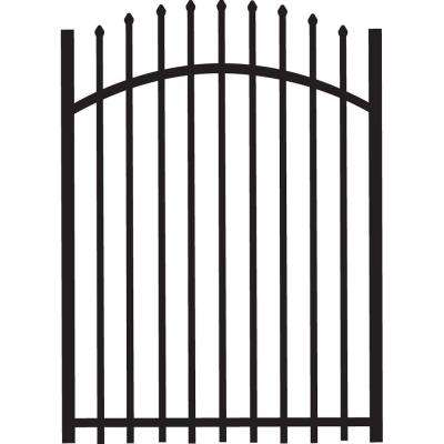 Cascade 4 ft. x 5 ft. Heavy-Duty Black Aluminum Arched Pre-Assembled Fence Gate