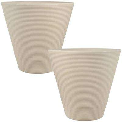 16 in. Beige Walter Outdoor Poly Flower Pot Planter (2-Pack)