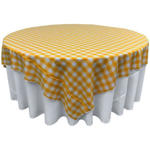 White And Dark Yellow Polyester Gingham Checkered Square