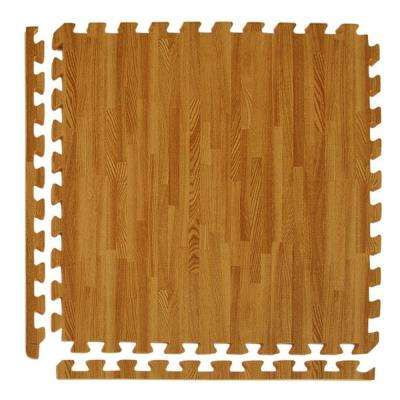 Wood Grain Reversible Standard Wood/Tan 24 in. x 24 in. x 0.5 in. Foam Interlocking Floor Tile (Case of 25)