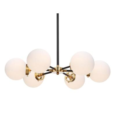 Caleb Adjustable 6-Light 28 in. Brass Gold/Black Brass Cluster Pendant