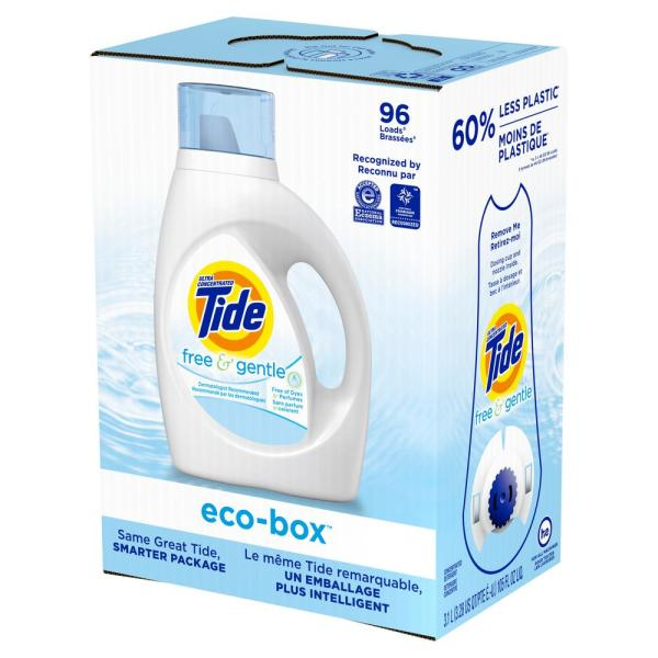Tide Free & Gentle Liquid Laundry Detergent Eco-Box HE Compatible - 105 fl oz