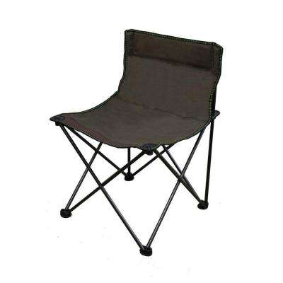 13 in. H Portable Armless Folding Brown Chair