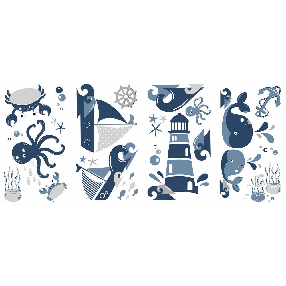 5 in. x 11.5 in. Nautical Sea Friends 22-Piece Peel and