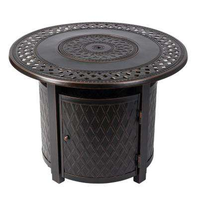 Wagner 33 in. x 24 in. Round Aluminum Propane Fire Pit Table in Antique Bronze