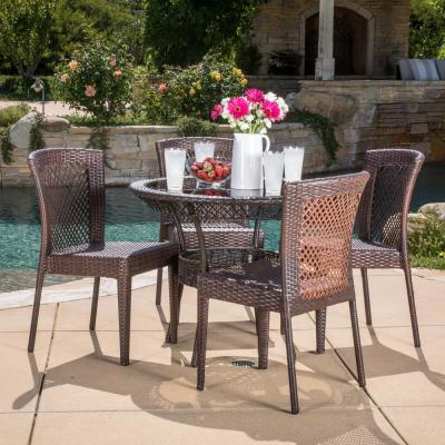 Lilly Multi-Brown 5-Piece Wicker Round Outdoor Dining Set with Stacking Chairs