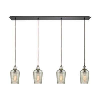 Hammered Glass 4-Light Linear Pan in Oil Rubbed Bronze with Hammered Mercury Glass Pendant