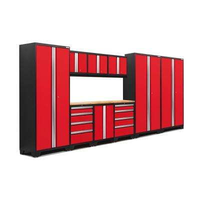Bold 3 Series 162 in. W x 75.25 in. H x 18 in. D 24-Gauge Welded Steel Bamboo Worktop Cabinet Set in Red (10-Piece)