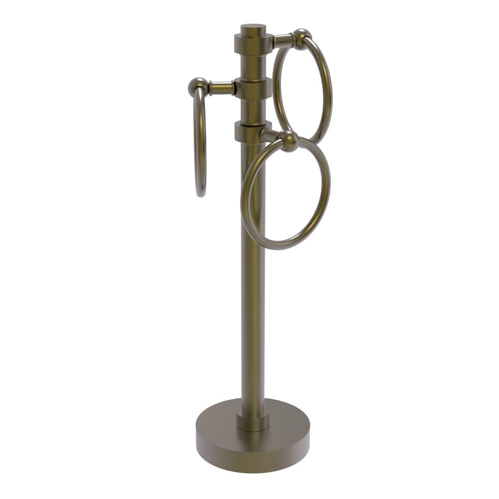 Vanity Top 3 Towel Ring Guest Towel Holder in Antique Brass