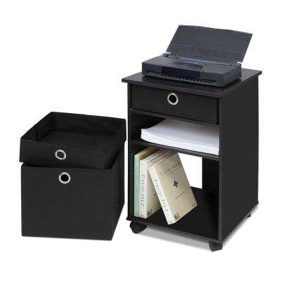 Econ Black Organization Shelf with Bins and Casters