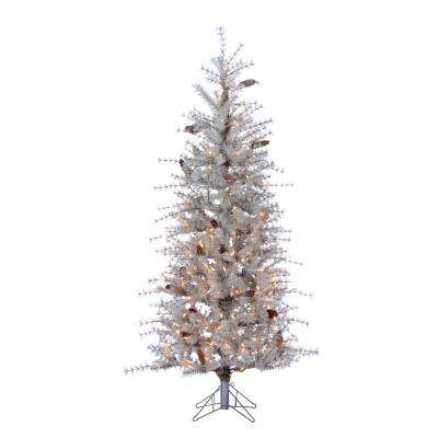 6 ft. Indoor Pre-Lit Frosted Slim Hard Needle Artificial Christmas Tree with 300 UL Clear Lights and Pinecones