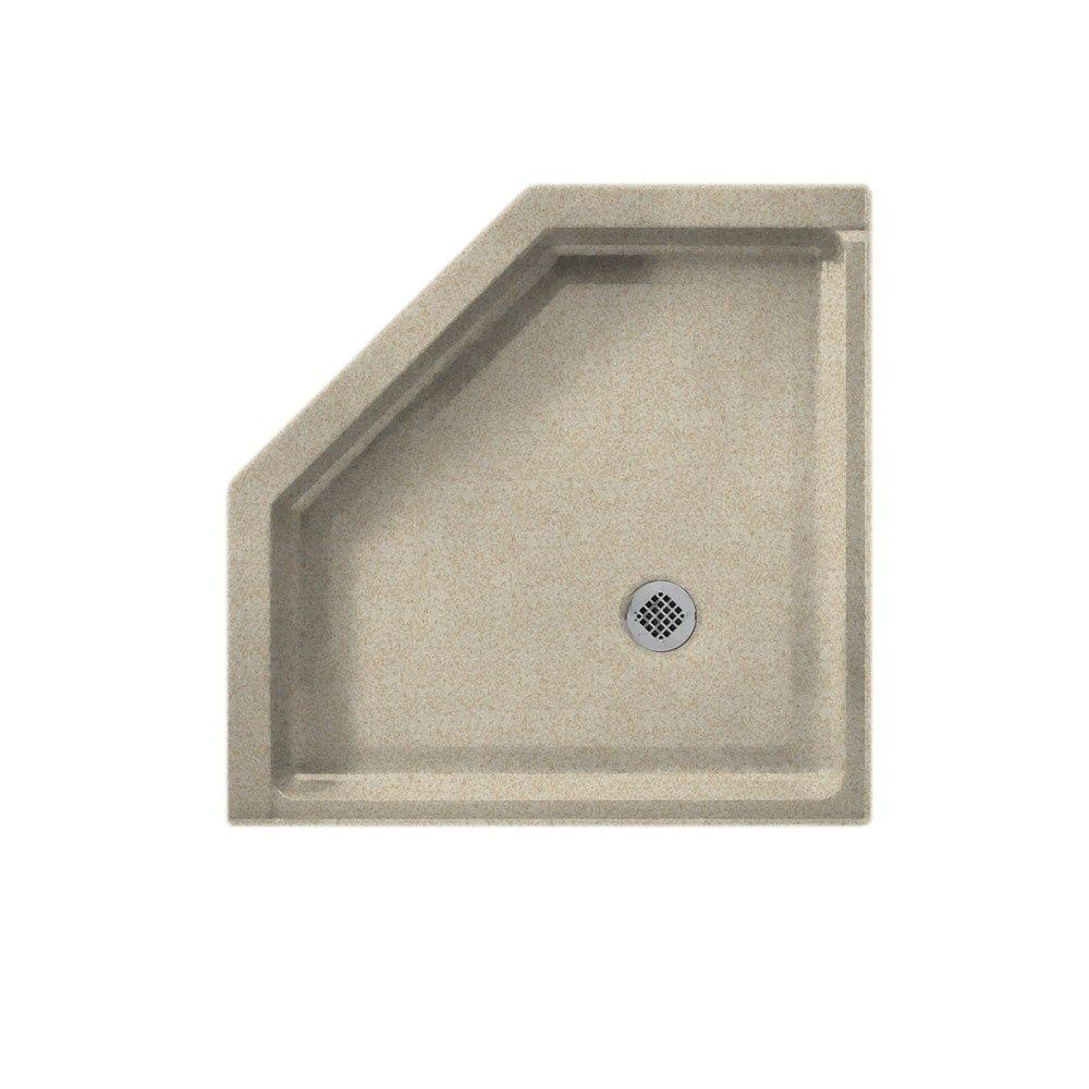 Swanstone Neo Angle 38 in. x 38 in. Single Threshold Shower Floor in Winter Wheat-DISCONTINUED