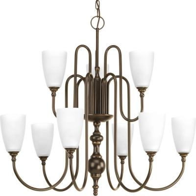Revive Collection 9-Light Antique Bronze Chandelier with Etched Fluted Glass Shade