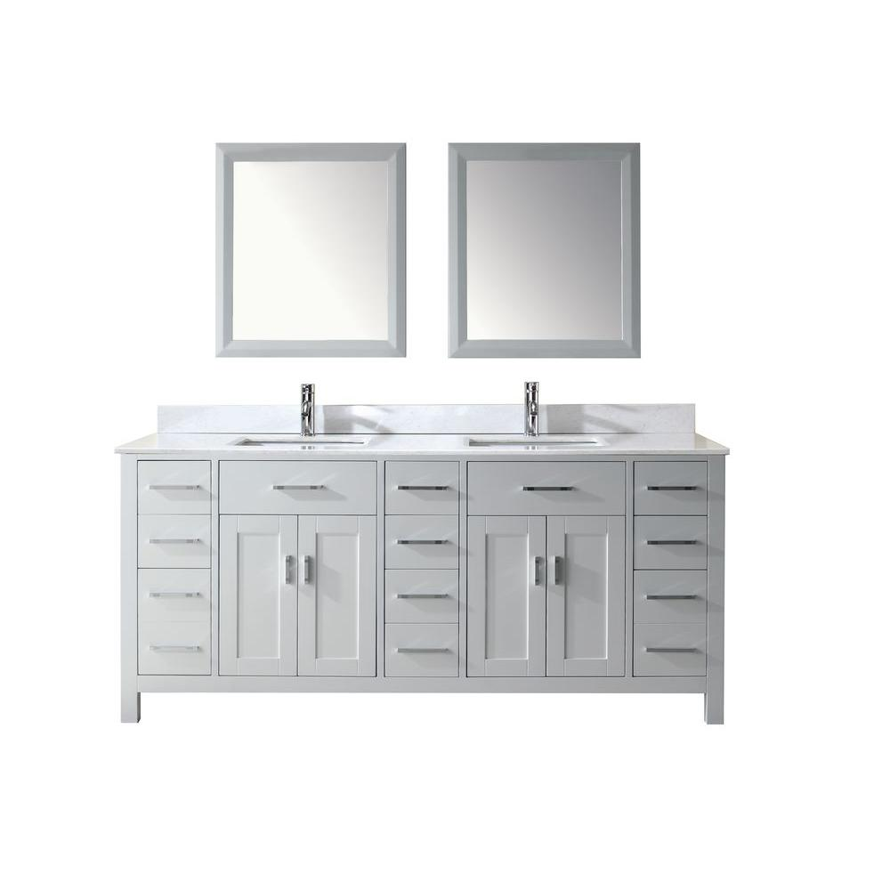 Studio Bathe Kalize 75 in. Vanity in White with Solid Surface Marble Vanity Top in White and Mirror