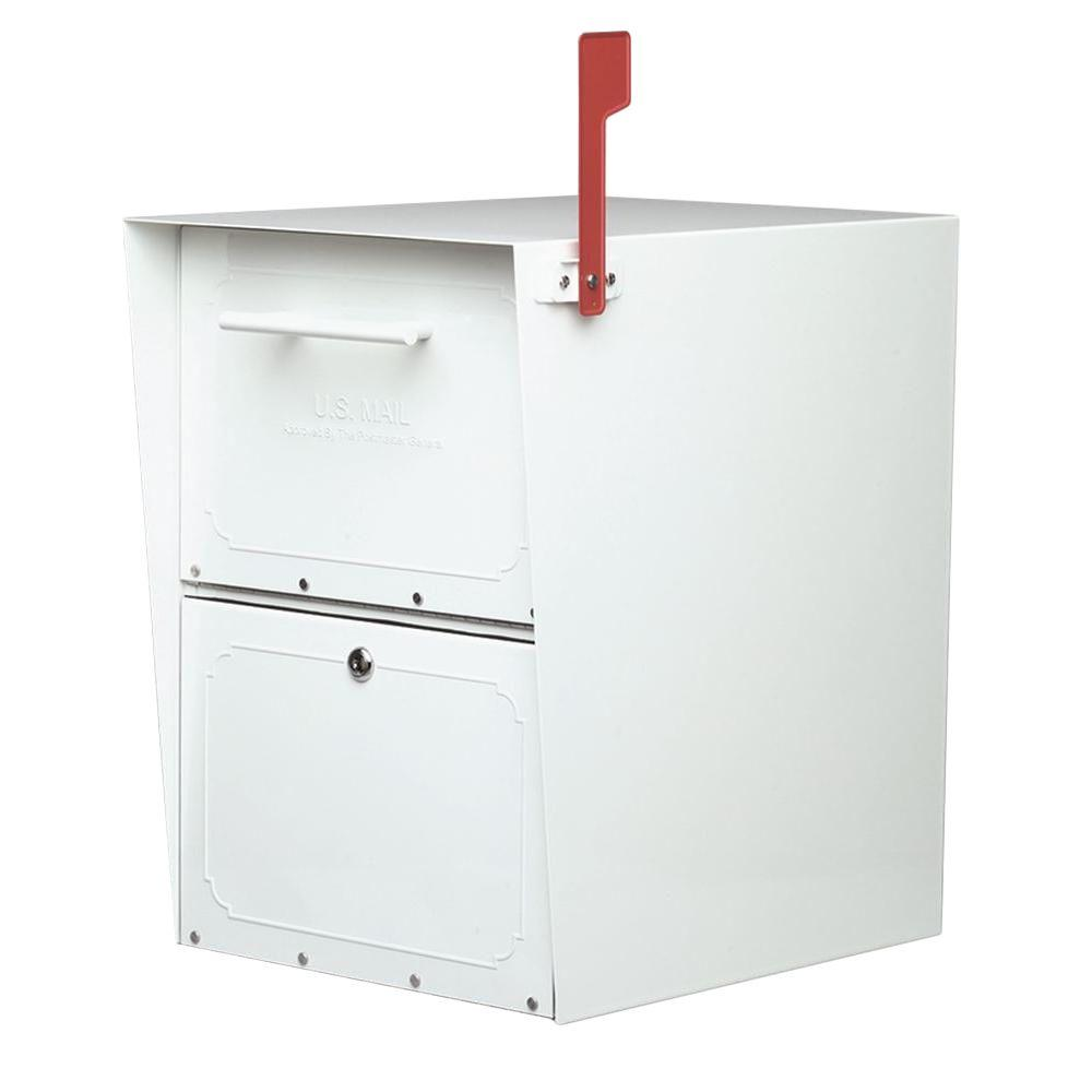 Architectural Mailboxes Oasis Post-Mount or Column-Mount Locking Mailbox in  White with Outgoing Mail Indicator