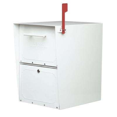 Oasis Post-Mount or Column-Mount Locking Mailbox in White with Outgoing Mail Indicator