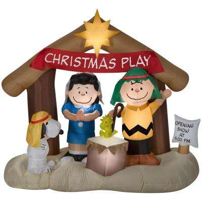 w pre lit peanuts nativity scene - Peanuts Christmas Decorations