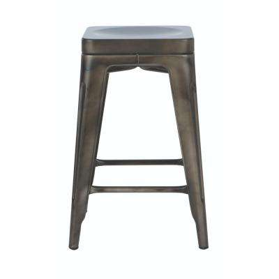 Garden 24 in. H Gun Metal Backless Counter Stool