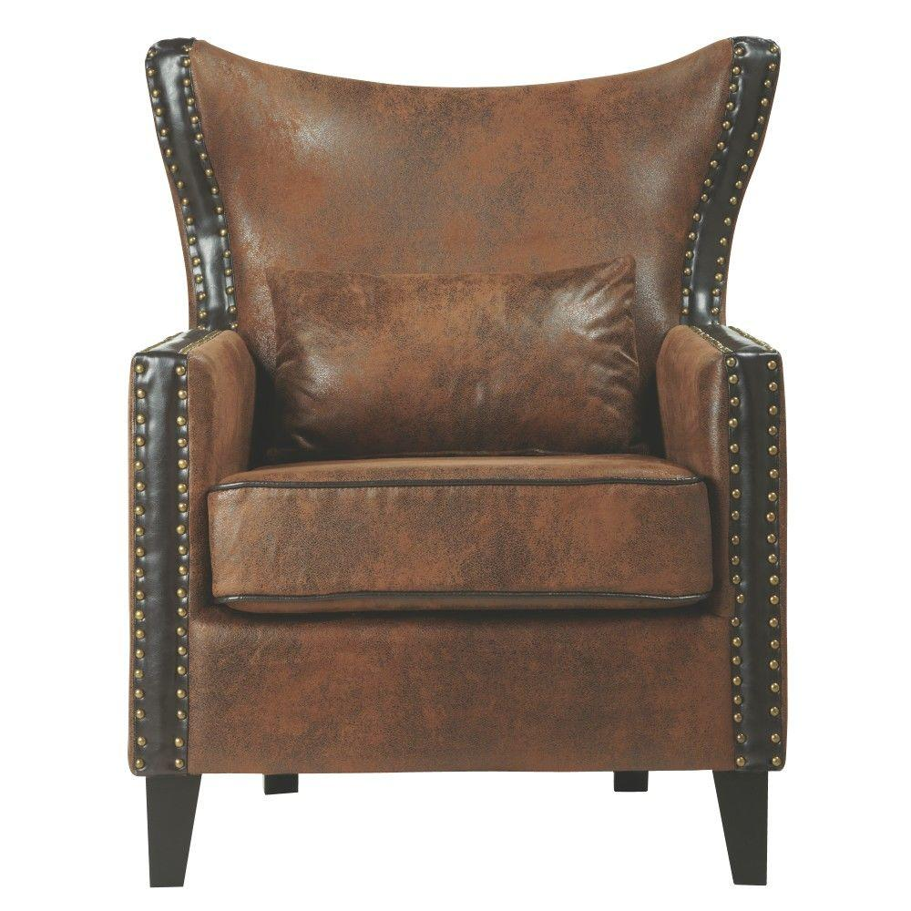 Home Decorators Collection Meloni Faux Suede Brown Bonded Leather Arm Chair