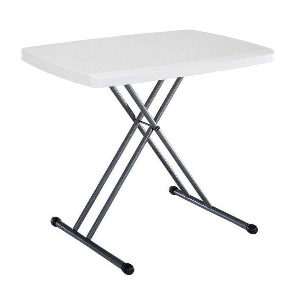 White Plastic Adjule Height Folding Utility Table