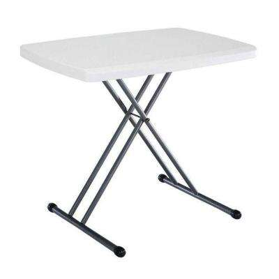30 in. White Plastic Adjustable Height Folding Utility Table
