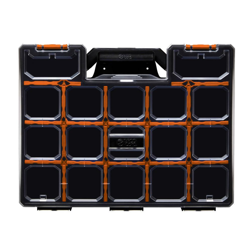 17-Compartment Wall Mount Pro-Go Divided Small Parts Organizer, Orange