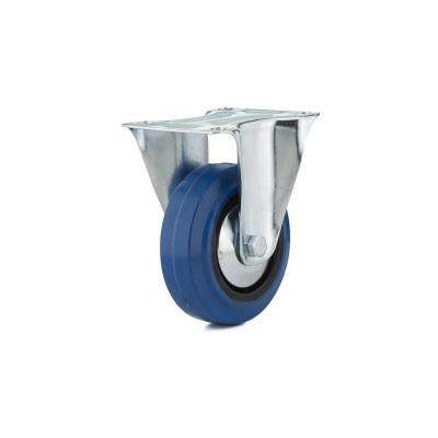 4 in. Heavy-Duty Blue Elastic Rubber Fixed Caster