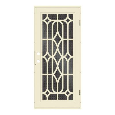 36 in. x 80 in. Essex Beige Hammer Right-Hand Surface Mount Security Door with Black Perforated Metal Screen