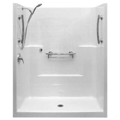 Imperial-SA 33 in. x 60 in. x 77 in. 1-Piece Low Threshold Shower Stall Package in White, LHS Shower Kit, Center Drain