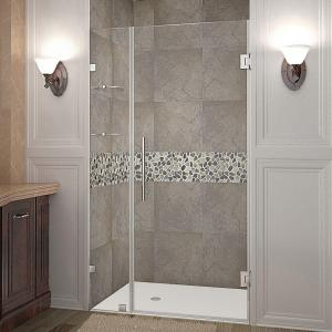 Nautis GS 43 in. x 72 in. Frameless Hinged Shower Door in Stainless Steel with Glass Shelves