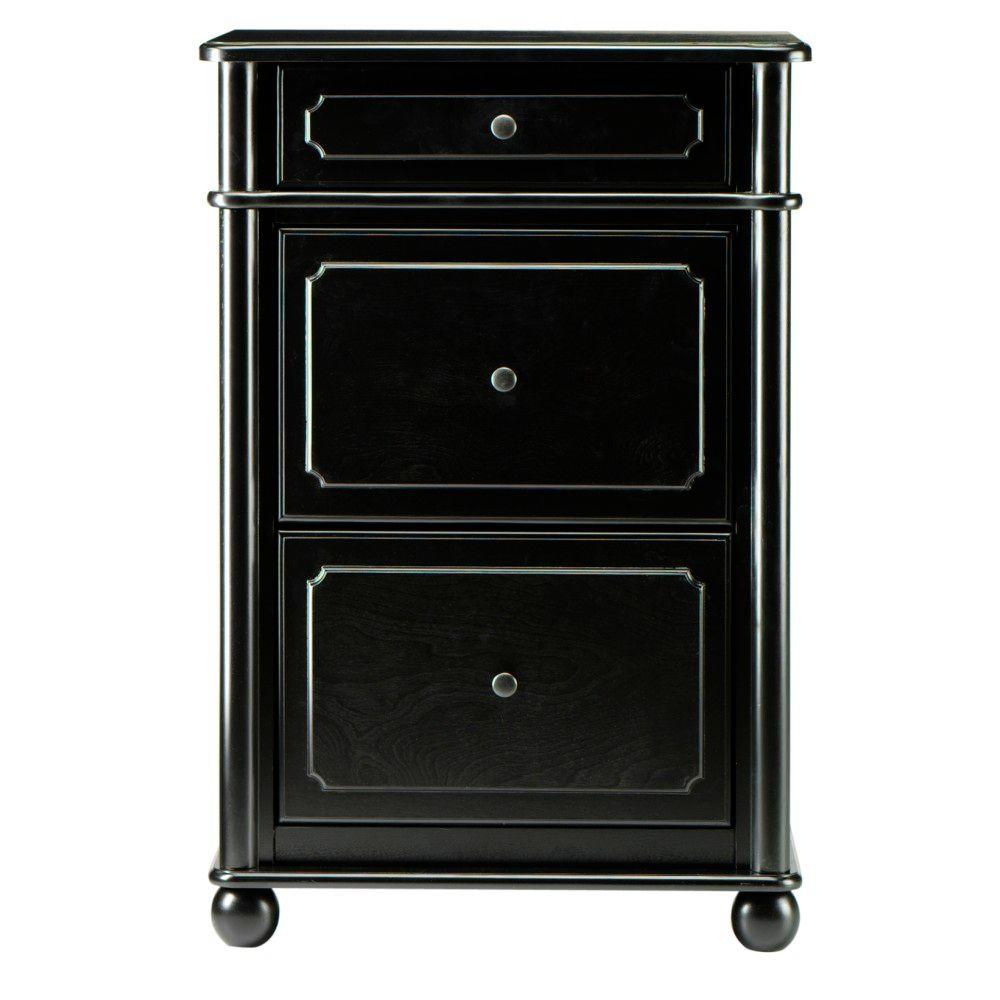Home Decorators Collection 23.5 in. W Essex 2-Drawer Black Vertical File Cabinet